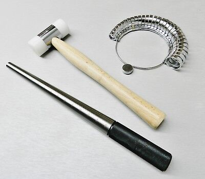 Steel Ring Mandrel Nylon Hammer Finger Sizer Gauge Wide Band Jewelry Tool Set