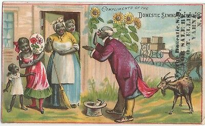 1880s Domestic Sewing Machine Black Americana Victorian Trade Card Varna, NY