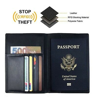 Mens Leather RFID Blocking Passport Holder Travel ID Cover Credit Card Wallet US