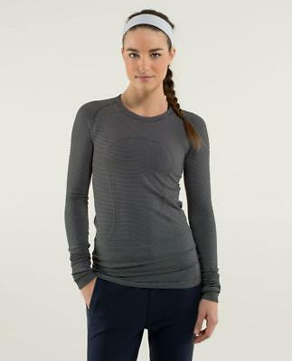 ba31355f82808 Lululemon Run Swiftly Tech Long Sleeve striped Stripe TONKA Black White  Shirt 12