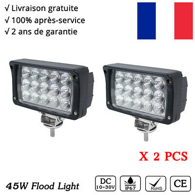 2x phare de travail LED 45W projecteur Work Light 12V tracteur offroad SUV lampe