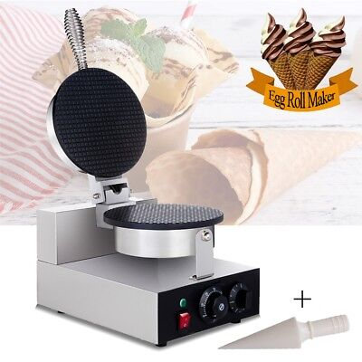 AUS 220V Stainless Steel Ice Cream Cone Cup Waffle Baker Machine Egg Roll