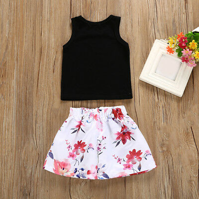 2pcs Toddler Kids Baby Girls Outfits Clothes Tank Tops Floral Dress Set
