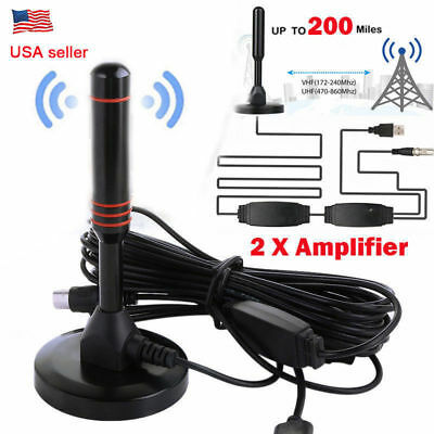 Antenna TV Digital HD 200 Mile Range 1080P 4K 16ft Coax Cable Skywire Indoor US