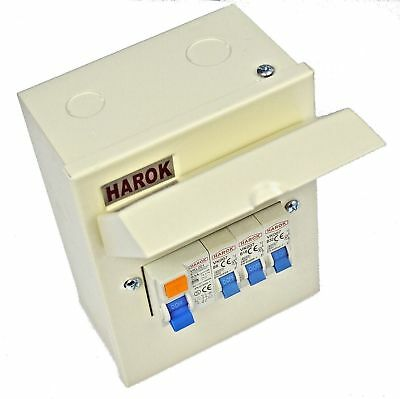 Harok - Metal Garage Consumer Unit 5 Way C/w 63A RCD 6A, 16A & 32A MCB Fitted