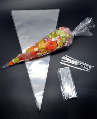 100Pcs Clear Cellophane Cone Bags Twist Ties Food-grade OPP Triangle Candy Bag