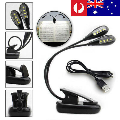 2 Dual Flexible Arms 8 LED Clip-on Lamp for Piano Music Stand Book Reading Light