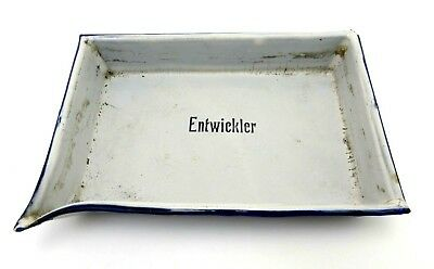 Emaille Entwicklerschale weiss blau 20x14 cm developing tray jk108
