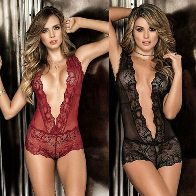 Sexy Lady Lingerie Deep V Backless See-through Lace Sleepwear Bodysuit 6X