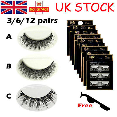 UK 6Pairs 3D Natural Long Thick Makeup Eyelashes Cross False Eye Lashes Set Mink
