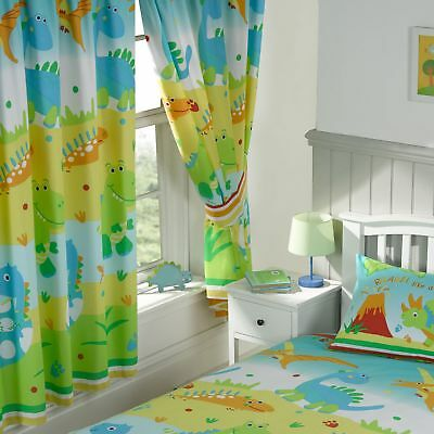 "ROAR LIKE A DINOSAUR 66"" x 72"" LINED CURTAINS matches duvet"