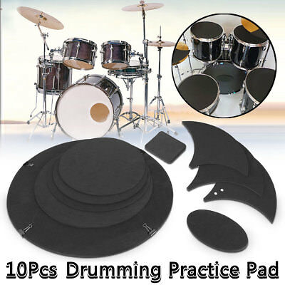 10x Bass Drums Sound off / Quiet Mute Silencer Drumming Rubber Practice Pad