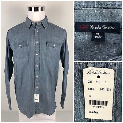 Brooks Brothers 346 Mens XL Chambray Shirt Faded Vintage Look 100% Cotton NWT