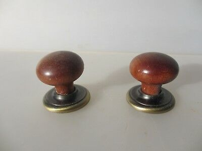 Retro Wooden Drawer Handles Knobs Cupboard Pulls Old Cabinet Brass Plates x2