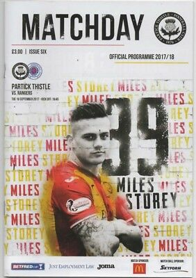 2017-18-Patrick Thistle V Glasgow Rangers-19/9/17-Scottish League Cup Programme