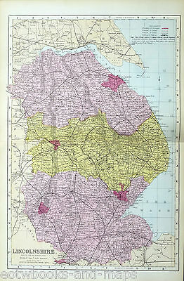 LINCOLNSHIRE, 1883 - Original Antique County Map - BACON.