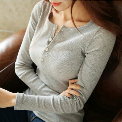 Slim Fit Long-sleeved T-shirt Women Bottoming Tops with Button-closure V-neck FQ