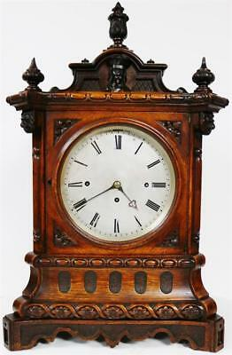 Rare Antique English Solid Carved Oak Triple Fusee Musical 8 Bell Bracket Clock