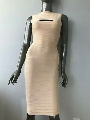824cdc1d12c7 Herve Leger authentic IMPERFECT SAMPLE beige long sleeveless dress size S