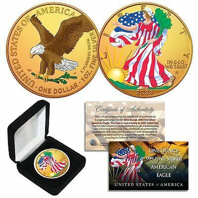 Combo 24K GOLD GILDED / COLOR 2019 American Silver Eagle 1 Oz .999 Coin w/ Box