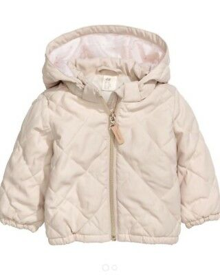 Brand New H&M Baby Quilted Spring Coat Detachable Hooded Zip Up Jacket Beige