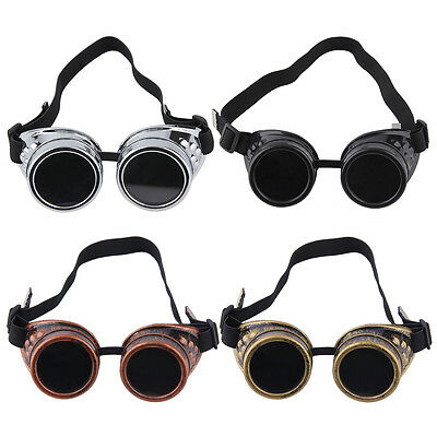 Pro Gothic Victorian Cyber Goggles Steampunk Glasses Vintage Retro Welding NA