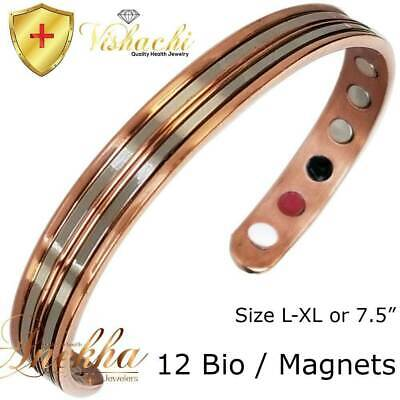 Branded Stamped Pure Solid Copper Magnetic Bangle/bracelet Men Women +Pouch Cb60