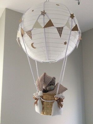 Me to you Teddy in a hot air balloon nursery light shade. Made to order