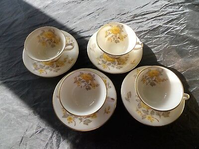 4) Castleton China Mayfair Cup and Saucer Set(s) YELLOW ROSE
