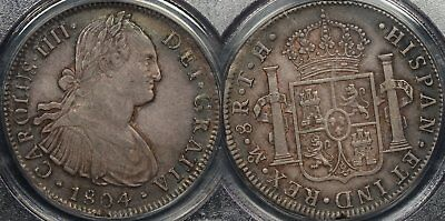 Proclamation Coin Mexico 1804TH 8 Reales KM #109 PCGS AU53