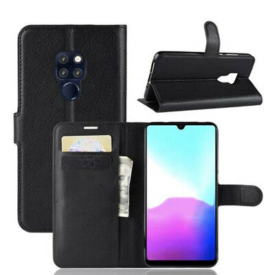 For Huawei Y9 2019 Premium Leather Wallet Cover Book Case + Tempered Glass
