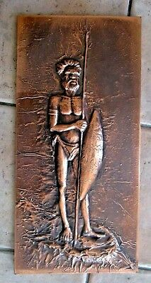 Vintage Beaten Copper Aborigine Picture - RETRO 1970/60's - POSTAGE $18.00