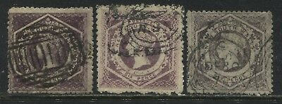 New South Wales QV 1859 6d used 3 distinct shades
