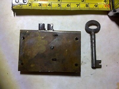 drawer or cabinet lock, steel, 6 cm, antique (DH32)