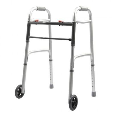 """Highest Quality Adult Lightweight Walker w/ 5"""" wheels and 2 Button Release"""