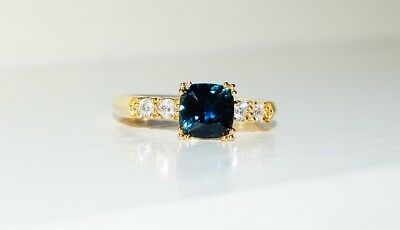 .18ct Yellow Gold Australian Sapphire & Diamond Ring Antique Style Size P1/2