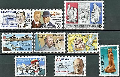 Air Mail Issues of 1985 to 1989 Complete Set of 9 MNH Stamps Scotts C113 to C121