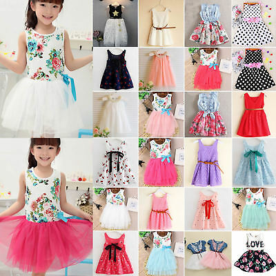 Kids Baby Girls Princess Floral Dress Party Wedding Tutu Tulle Sundress Clothes