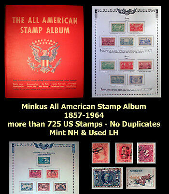 725+ US Stamps in Minkus All American Album Mint NH & Used LH 1857-1964 BV $1025