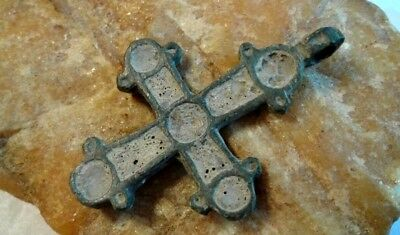 RARE MEDIEVAL 10-13th CENTURY VIKING-AGE LARGER BRONZE CROSS INLAID with ENAMEL