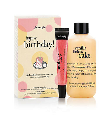 PHILOSOPHY HAPPY BIRTHDAY Vanilla Cake Shower Gel Raspberry Sorbet Lip Shine Set