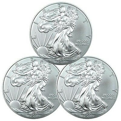 Lot of 3 - 2016 1 Troy Oz .999 Fine American Silver Eagle Coins