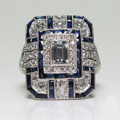Fashion Art Deco Rings Jewelry Silver Plated White Topaz & Blue Sapphire Ring