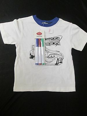 Disney Kids Lightning Mcqueen Cars Race Colorable White T-Shirt Tee 24/2T Nwt