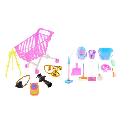 Kids Mini Shopping Cart Toy Supermarket Trolly & Mini Cleaning Furniture Toy
