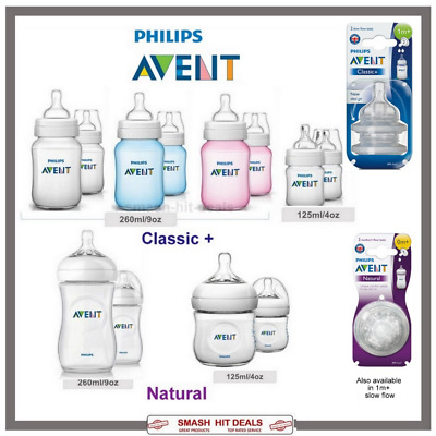 Avent PHILIPS 2 X Bottles 260ML or 125ml  Classic+ OR  Natural Bottles OR Teats