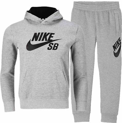 Nike Kids SB Fleece Full Tracksuit Bottoms Joggers Hoodie Pullover Grey