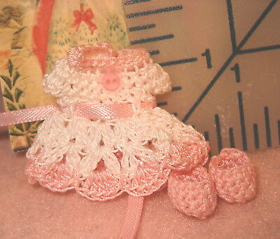 Dress for Miniature Doll Handmade with Booties