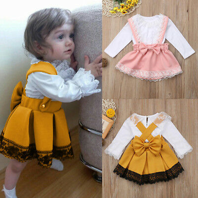 Newborn Baby Girls Princess Dress Outfit Set Kids Lace Romper Tops+Skirt Clothes