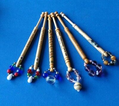 6 Light Wooden Lace Bobbins. Inscriptions of East Yorkshire. With Spangles.